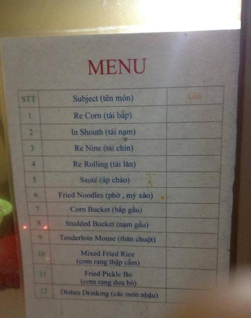 Thực đơn tiếng Anh theo phong cách Việt.