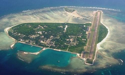 Đảo Phú Lâm thuộc quần đảo Hoàng Sa của Việt Nam nhìn từ trên cao. Ảnh: People Daily.