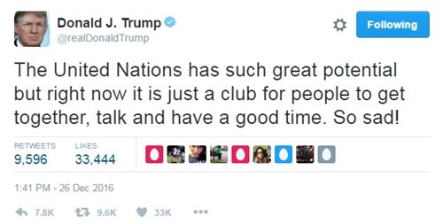 Donald Trump gọi Liên Hợp Quốc là câu lạc bộ trên Twitter cá nhân ngày 26/12. Ảnh: Twitter.