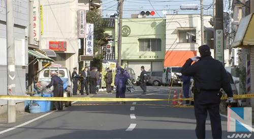 Cảnh sát điều tratại hiện trường vụ án ởthành phố Choshi, tỉnh Chiba. Ảnh: JNN