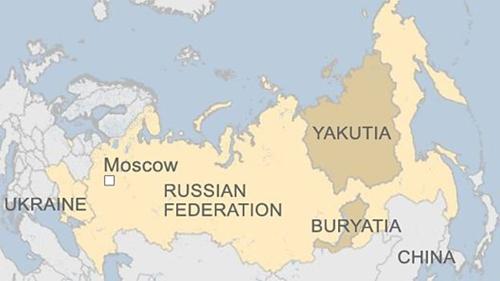 Vị trí vùng Yakutia, Nga. Đồ họa: BBC.