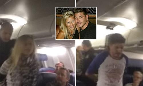Blake Fleisig và vợ Anna Koosmann bị bắt vì gây rối và ẩu đả trên máy bay. Ảnh: Yahoo News