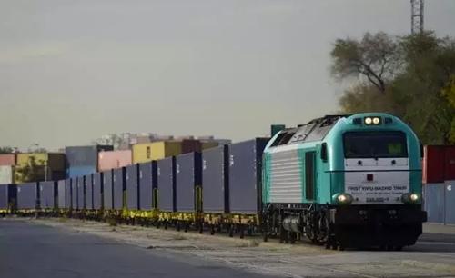 Chuyến tàu chở hàng từ Trung Quốc tới Madrid, Tây Ban Nha năm 2014. Ảnh: AFP