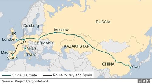 Tuyến tàu từ Trung Quốc tới London, Anh. Đồ họa: BBC