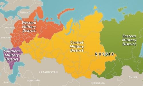 Vị trí Quân khu miền Tây Nga (màu cam đậm). Đồ họa: Straffor.