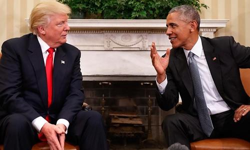 Tổng thống Barack Obama (phải) và Tổng thống đắc cử Donald Trump. Ảnh: AAP.