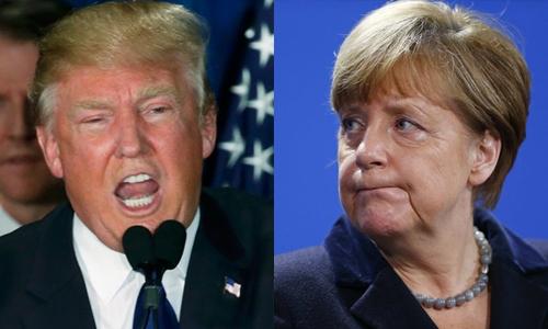 Tổng thống Mỹ đắc cử Donald Trump và Thủ tướng Đức Angela Merkel. Ảnh: RT