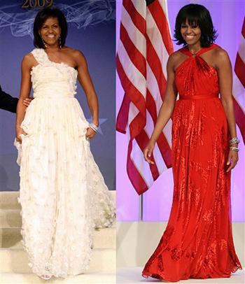 Hai bộ váy củaJason Wuđược bàMichelle Obama mặc tại tiệc khiêu vũ sau lễ nhậm chức của chồng năm 2009