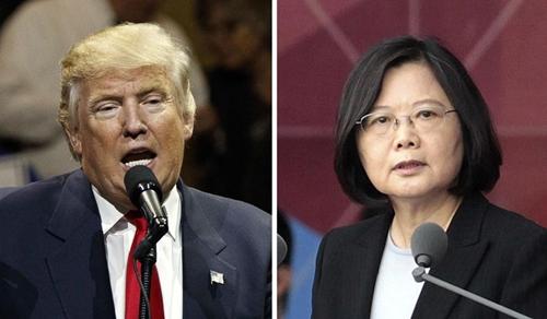 Tổng thống Mỹ đắc cử Donald Trump và lãnh đạo Đài Loan Thái Anh Văn. Ảnh: