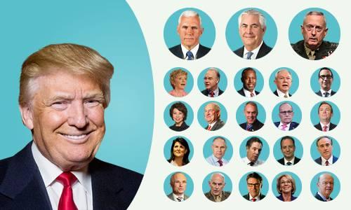 Diện mạo nội các hơn 14 tỷ USD của Donald Trump. Nhấn vào ảnh để xem đồ họa. Đồ họa: Việt Chung