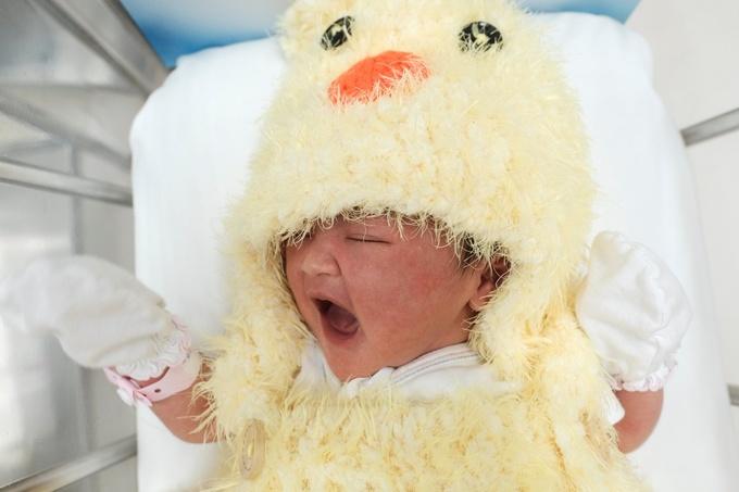 Trẻ sơ sinh mặc đồ con gà đón Tết tại bệnh viện Thái Lan