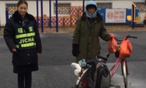 Người đàn ông Trung Quốc đạp xe về quê ăn Tết nhưng bị đi lạc đường 500 km. Ảnh: Shanghaiist