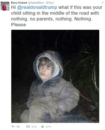 Al-Abed sau đó chia sẻ bức ảnh chụp một đứa trẻ và nhận được hàng nghìn lượt thích. Ảnh:
