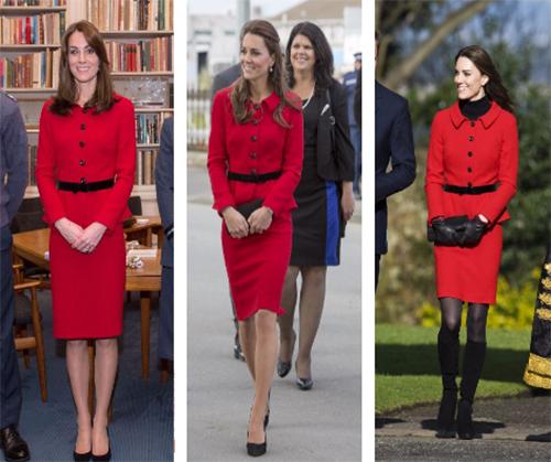 3 lần công nương Anh mặc bộ váy đỏcủaLuisa Spagnoli. Ảnh: