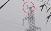 Người đàn ông đứng trên đỉnh cột điện cao thế