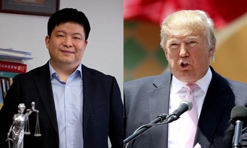 Thẩm phán He Fan và Tổng thống Mỹ Donald Trump. Ảnh: Weibo, AP