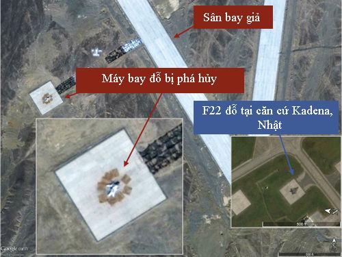 Mục tiêu bị tên lửa đạn đạo phá hủy trên bãi thử ở Gobi rất giống máy bay tàng hình F-22 của Mỹ đậu tại căn cứ Kadena, Nhật Bản. Ảnh:War on the Rocks.