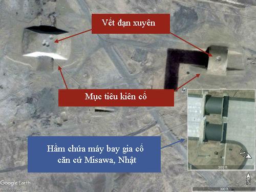Hầm bê tông kiên cố trên bãi thử Trung Quốc giống nhà chứa máy bay ở căn cứ không quân Misawa, Nhật Bản đều có dấu vết bị tên lửa xuyên thủng. Ảnh: War on the Rocks