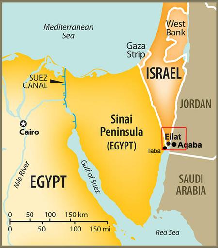 Vị trí bán đảo Sinai, Ai Cập, và thành phố Eilat, Israel. Đồ họa: Bohemia Interactive Forums
