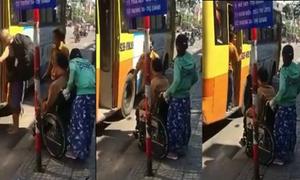 Xe buýt bỏ mặc hành khách khuyết tật