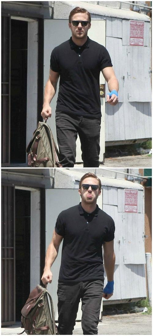 Ryan Gosling lêu lêu người chụp lén.