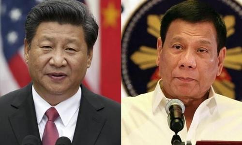 Chủ tịch Trung Quốc Tập Cận Bình (trái) và Tổng thống Philippines Rodrigo Duterte. Ảnh: GMA Networks.