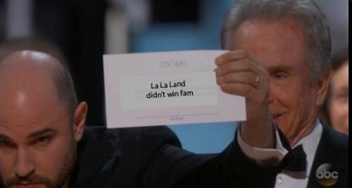 Sự thật phiếu kết quả:  La La Land không chiến thắng.