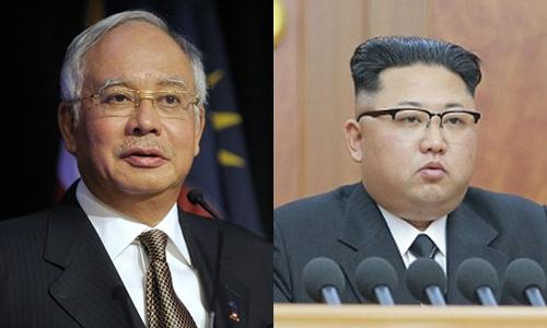 Thủ tướng Malaysia Najib Razak và lãnh đạo Triều Tiên Kim Jong-un. Ảnh: Reuters