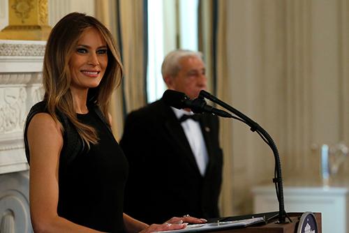 Đệ nhất phu nhân Mỹ phát biểu tại buổi tiệc ở Nhà Trắng hôm qua. Ảnh: Reuters