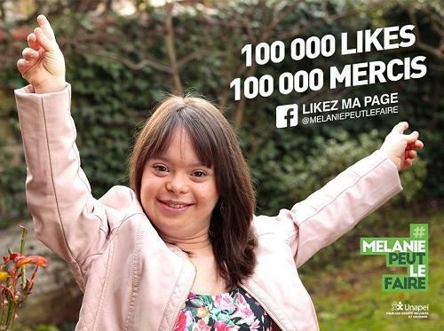 Hình ảnh Mélanie Ségard trên trang Facebook củachiến dịch kêu gọi 100.000 likes. Ảnh:Facebook