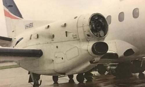 Máy bay hạ cánh khẩn cấp sau khi bị mất một cánh quạt động cơ. Ảnh: Twitter