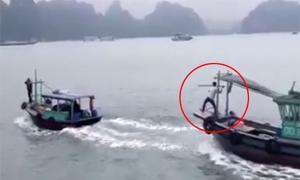 Tàu chở trái cây bị truy đuổi trên vịnh Hạ Long