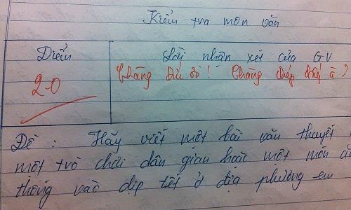 Lời phê dễ thương của giáo viên: Chàng ơi! Chàng chép đấy à?.