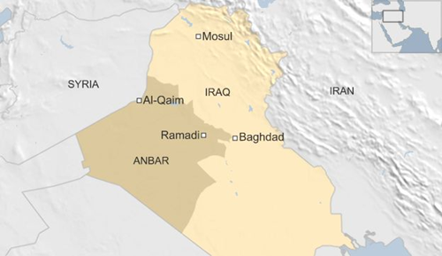 Vị trí thị trấn al-Qaim, Iraq. Đồ họa: BBC.