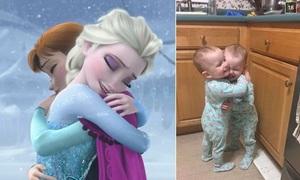 Hai bé sinh đôi 23 tháng tuổi bắt chước phim Nữ hoàng Băng giá