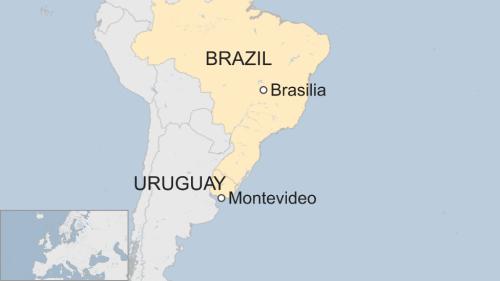 Tàu báo động khi di chuyển gần Uruguay. Đồ hoạ: BBC