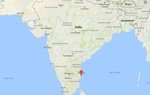 Vị trí thị trấn Mamallapuram, bang Tamil Nadu, Ấn Độ. Đồ họa: Google Maps.