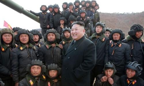 Nhà lãnh đạo Kim Jong-un thăm một đơn vị quân đội Triều Tiên. Ảnh: KCNA