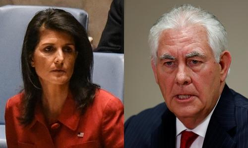 Đại sứ Mỹ tại Liên Hợp Quốc Nikki Haley (trái) và Ngoại trưởng Mỹ Rex Tillerson. Ảnh: Reuters.