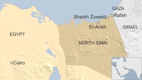 Vị trí bán đảo Sinai, Ai Cập. Đồ họa: BBC.