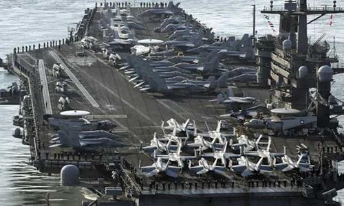 Tàu sân bay Mỹ USS Carl Vinson tới Hàn Quốc tập trận thường niên hồi tháng ba. Ảnh: AP