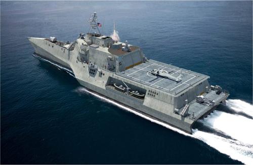 Thiết kế tàu LCS một thân gắn tên lửa vượt đường chân trời của Lockheed. Ảnh