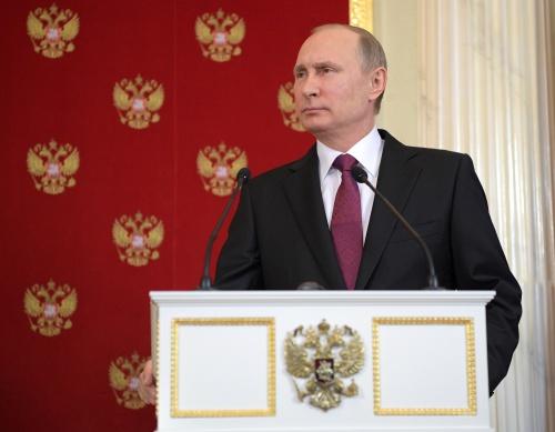 Tổng thống Nga Putin trong cuộc họp báo chung hôm qua với người đồng cấp Italy