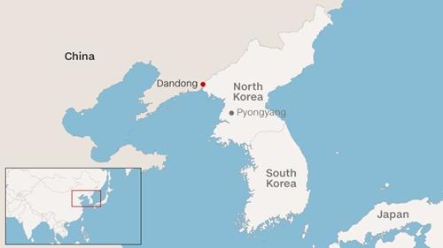 Vị trí thành phố Dandong.