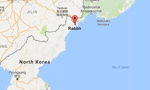Vị trí Rason, Triều Tiên và Vladivostok, Nga. Đồ họa: Googlemaps