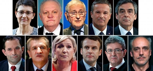 A combination picture shows candidates for the French 2017 presidential election, 1st row L-R : Nathalie Arthaud, Frances extreme-left Lutte Ouvriere political party (LO) leader, Francois Asselineau, UPR candidate, Jacques Cheminade, Nicolas Dupont-Aignan, Debout La France group candidate, Francois Fillon, the Republicans political party candidate, 2nd row L-R : Benoit Hamon, French Socialist party candidate, Jean Lassalle, Marine Le Pen, French National Front (FN) political party leader, Emmanuel Macron, head of the political movement En Marche ! (or Onwards !), Jean-Luc Melenchon, candidate of the French far-left Parti de Gauche, Philippe Poutou, Anti-Capitalist Party (NPA) presidential candidate, after the official announcement in Paris, France. France goes to the polls on Sunday April 23, 2017 in the first round of its presidential election