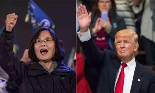 Tổng thống Mỹ đắc cử Donald Trump và lãnh đạo Đài Loan Thái Anh Văn. Ảnh: AFP