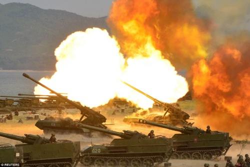 Một cuộc tập trận bắn đạn thật của Triều Tiên. Ảnh: KCNA