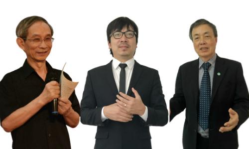Tiến sĩ Lê Thống Nhất;Giáo sư Cù Trọng Xoay; Hiệu trưởngNguyễn Xuân Khang (từ trái sang).