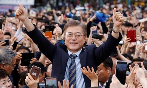 Ứng viên tổng thống Hàn Quốc Moon Jae-in. Ảnh: Reuters